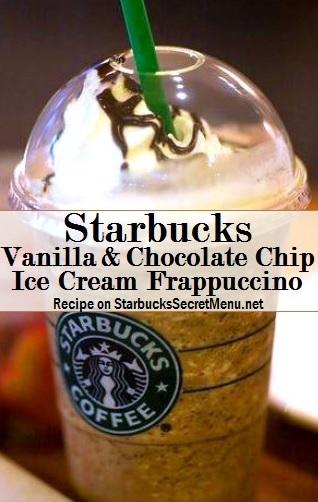 vanilla and chocolate chip ice cream frappuccino