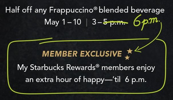 my starbucks rewards happy hour extension