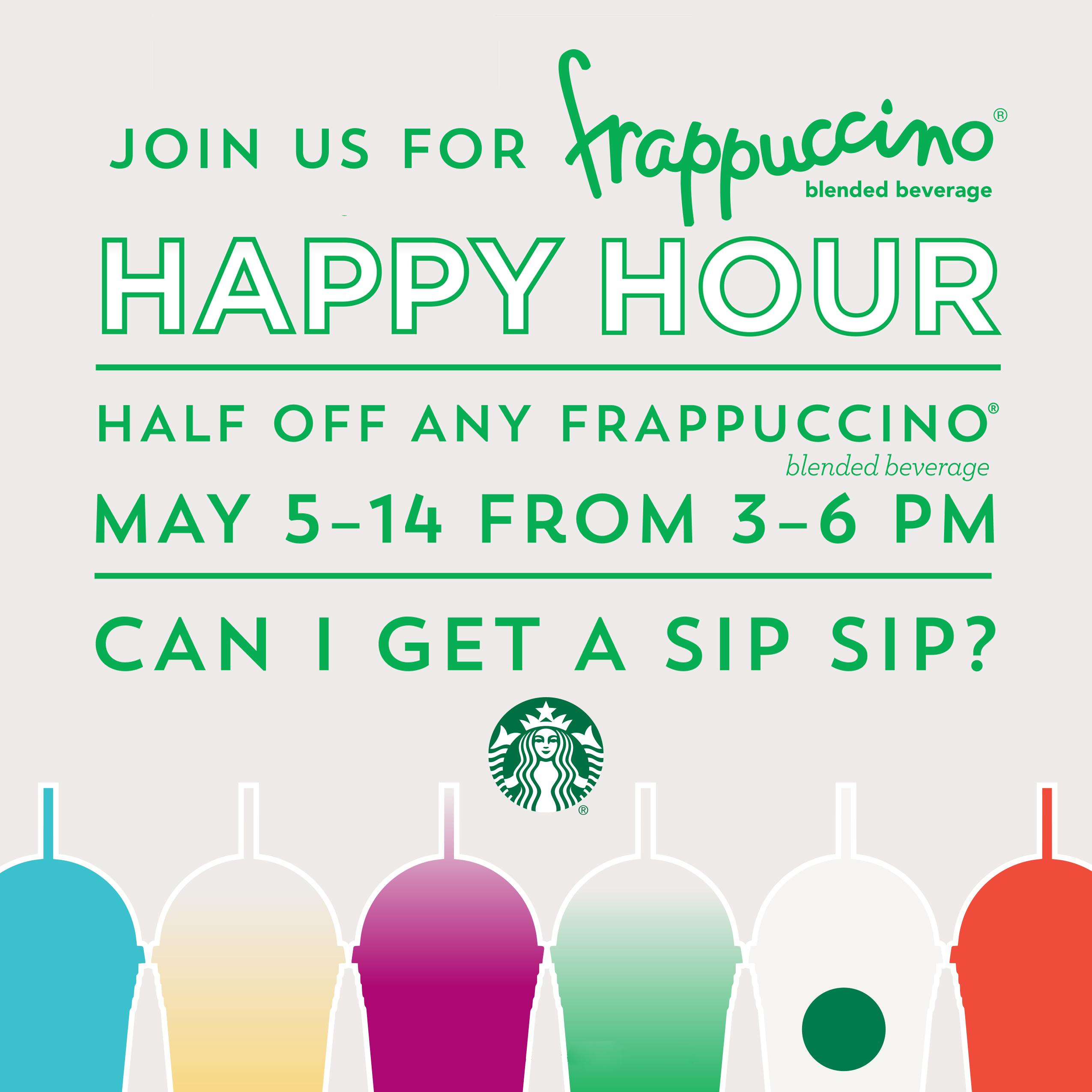 「starbucks frappuccino happy hour 2017」の画像検索結果