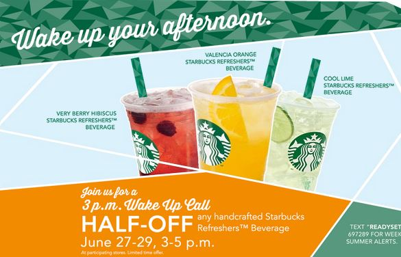 Half Off Any Handcrafted Starbucks Refreshers July 27 29 3 5 Pm