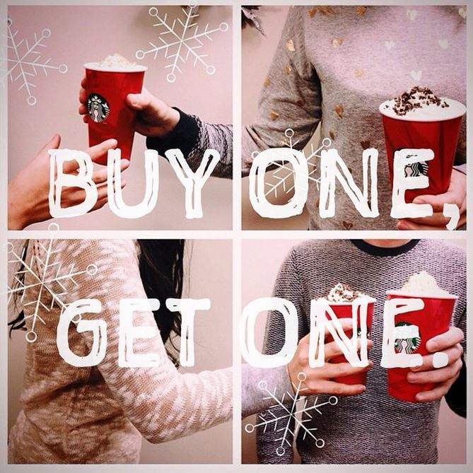buy one get one starbucks holiday drinks