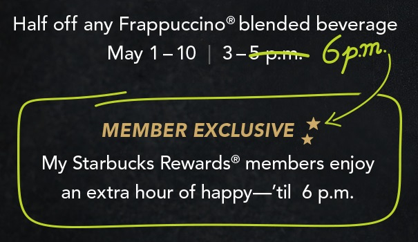 my starbucks rewards happy hour extension