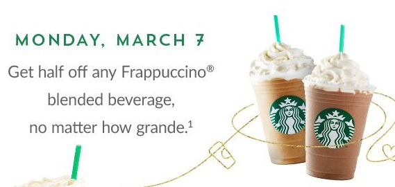 Monday March 7 Half Price Frappuccinos