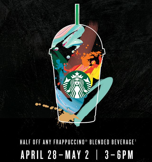 half off frappuccino april 28 - may 2