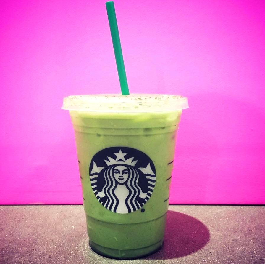 green frozen drink at starbucks