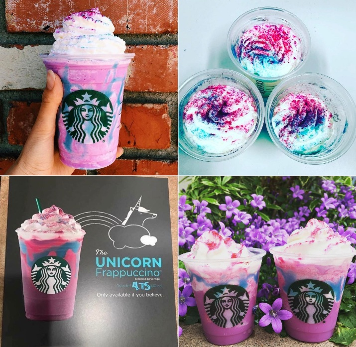 Starbucks Unicorn Frappuccino Collage